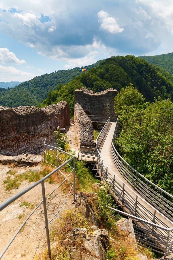 Castillo real de Drácula y x28; Poenari Castle& x29; , Transilvania, Rumania foto de archivo libre de regalías