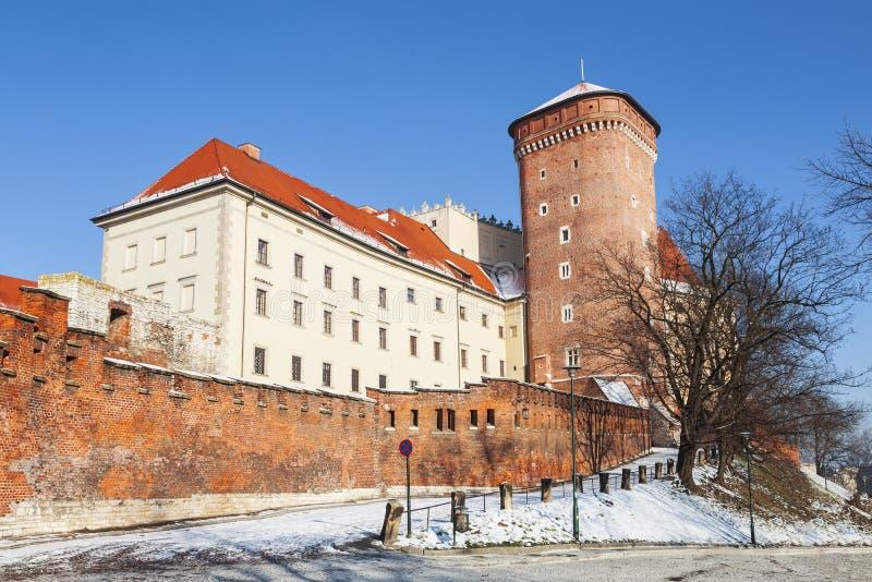 Castillo real histórico de Wawel en Kraków imagen de archivo