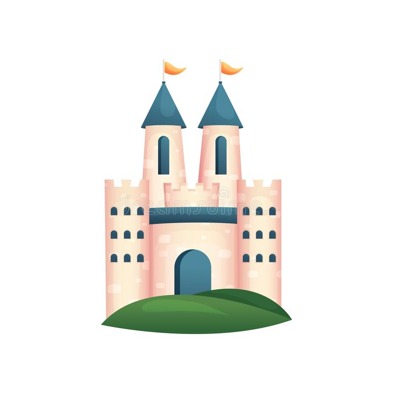 Castillo real medieval con la puerta y el tejado azules, bandera amarilla libre illustration