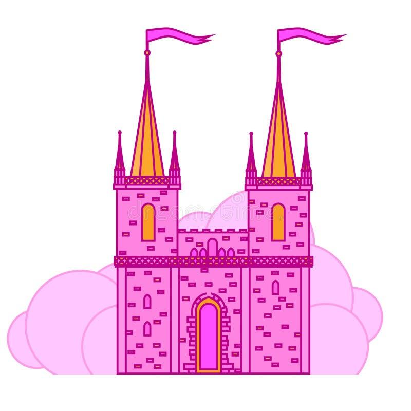 Castillo rosado de la magia de la princesa Palacio lindo plano del cuento de hadas con la torre, reino medieval del niño libre illustration