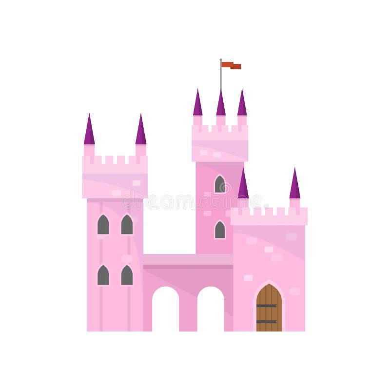 Castillo rosado hermoso con el edificio de la torre para la princesa del rey stock de ilustración