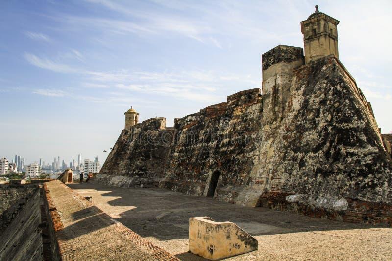 Castillo San Felipe de Barajas, Cartagena De Indias, Kolumbia zdjęcie stock