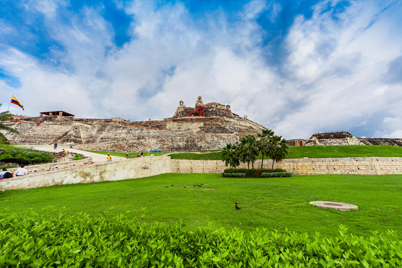 Castillo San Felipe de Barajas jest fortecą w mieście Cartagena zdjęcia royalty free