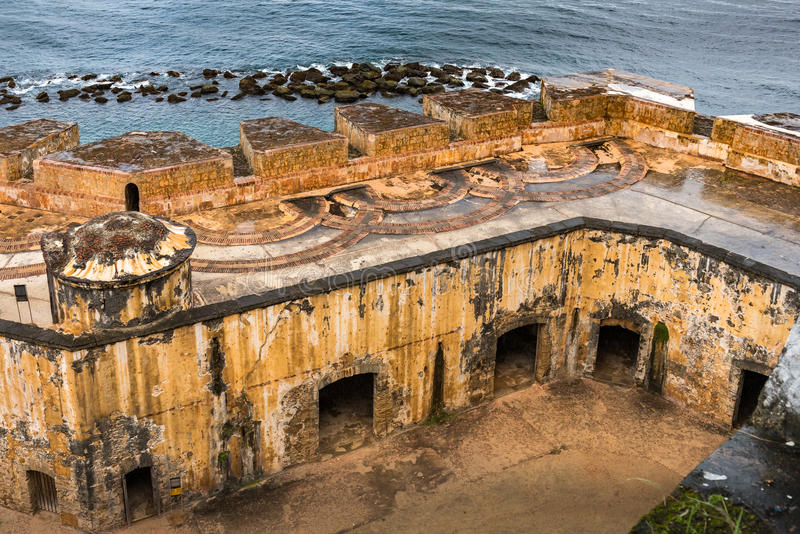 Castillo San Felipe del Morro interal courtyard from above. With rain soaked deck stock photo