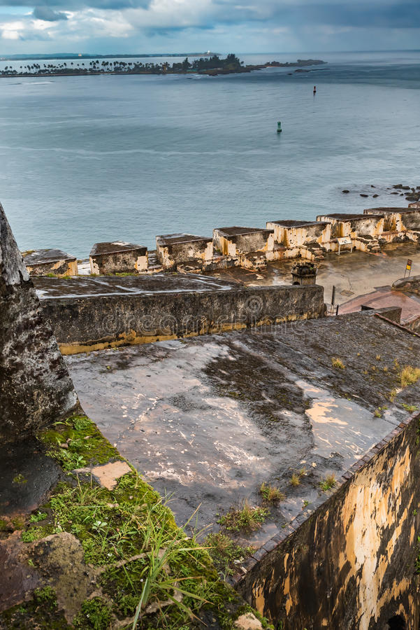 Castillo San Felipe del Morro. Ramp in Castillo San Felipe del Morro with Caribbean sea in background stock image