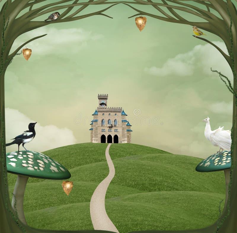 Castillo sobre una colina verde ilustración del vector