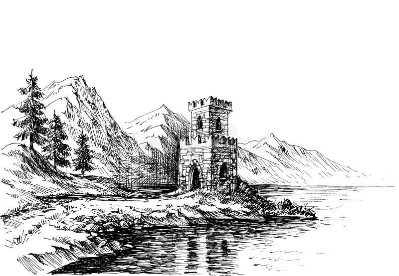 Castillo viejo en un paisaje de la orilla del río stock de ilustración