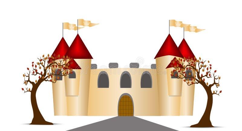 Castillo y árboles stock de ilustración