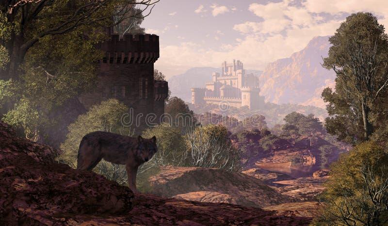 Castillo y lobo en las maderas ilustración del vector