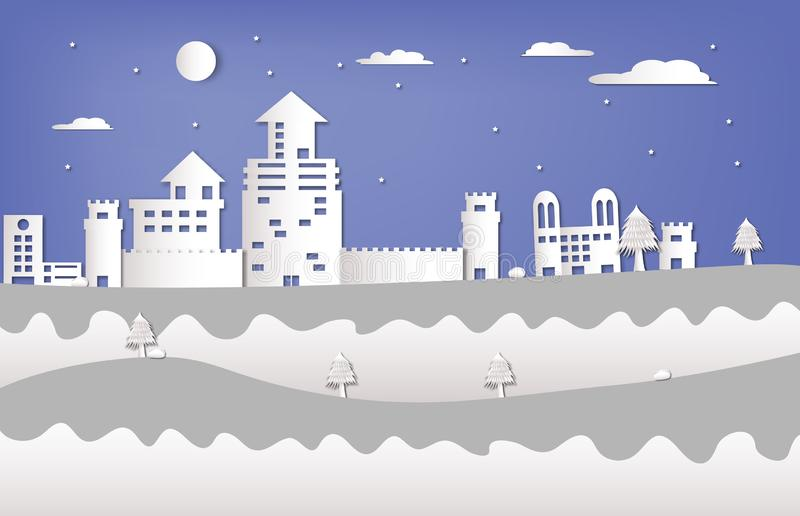 Castillo y paisaje en la estación del invierno en el corte del papel libre illustration