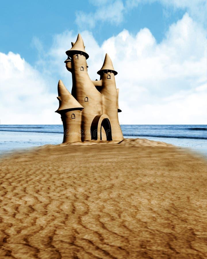 Castillo y playa de la arena imagen de archivo libre de regalías