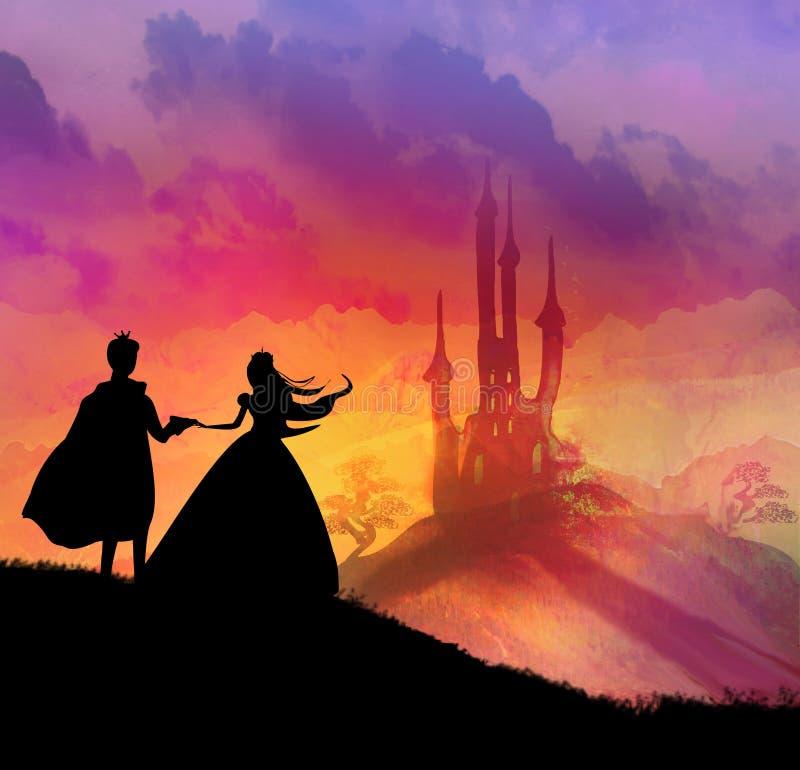 Castillo y princesa mágicos con el príncipe libre illustration