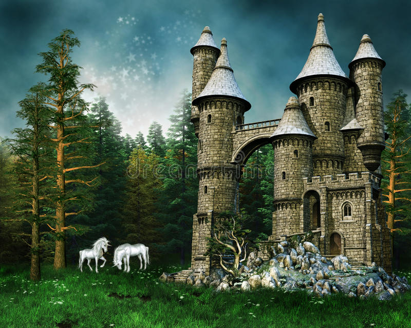 Castillo y unicornios en un prado ilustración del vector