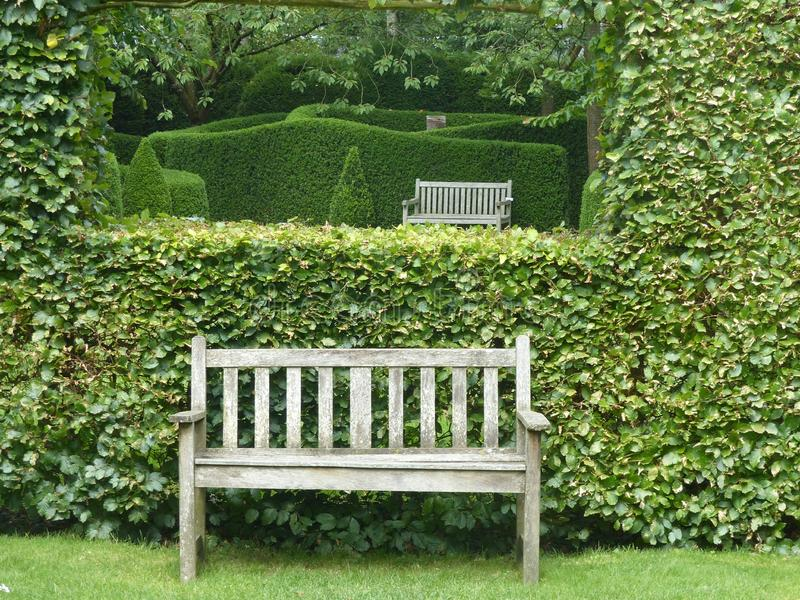 Castillon garden with walls of bushes in Normandy. France royalty free stock photo
