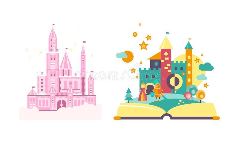 Castillos del cuento de hadas, libro abierto con el ejemplo del vector del reino del cuento de hadas en un fondo blanco ilustración del vector