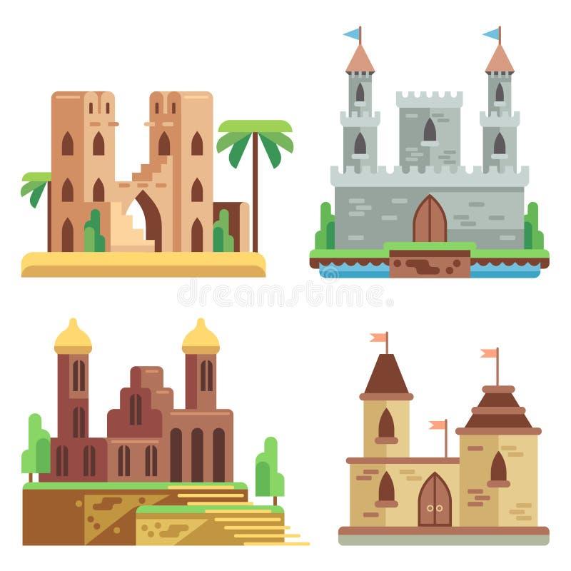 Castillos e iconos planos del vector de las fortalezas fijados Medieval de hadas de la historieta con las torres stock de ilustración