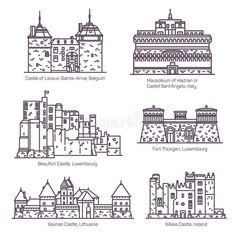 Castillos europeos medievales y línea fina del fortin ilustración del vector