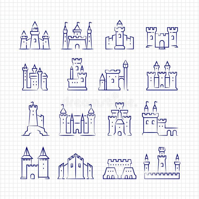 Castillos medievales del bosquejo fijados en la página alineada libre illustration