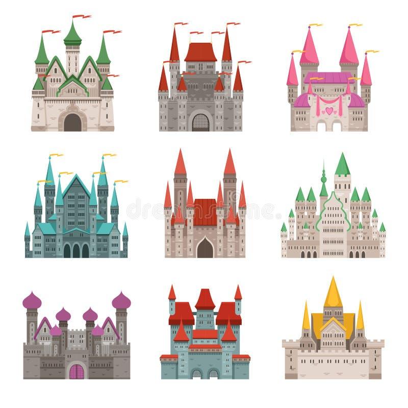 Castillos o palacios medievales viejos del cuento de hadas con las torres Imágenes del vector en estilo de la historieta ilustración del vector