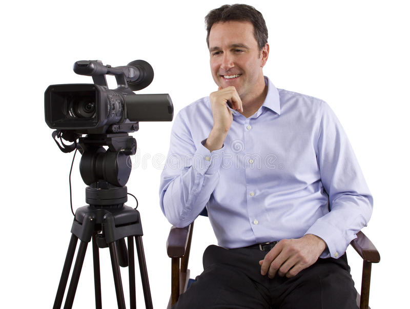 Casting Director. Sitting and recording auditions with camera royalty free stock photos