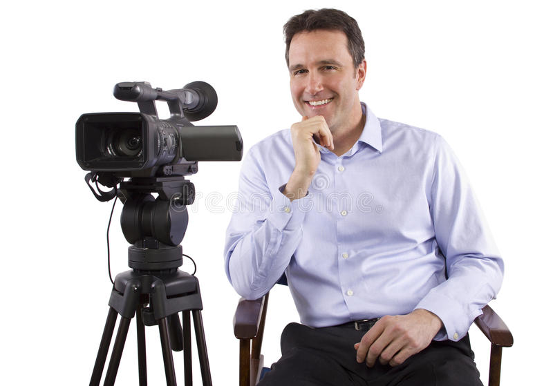 Casting Director. Sitting and recording auditions with camera royalty free stock photo