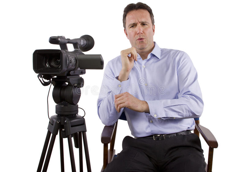 Casting Director. Sitting and recording auditions with camera royalty free stock images