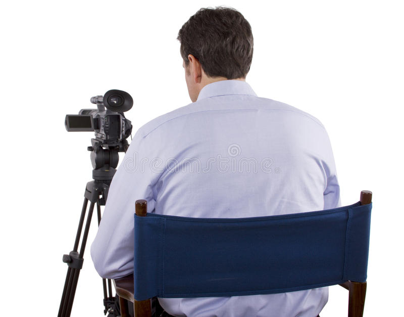 Casting Director. Sitting and recording auditions with camera stock image