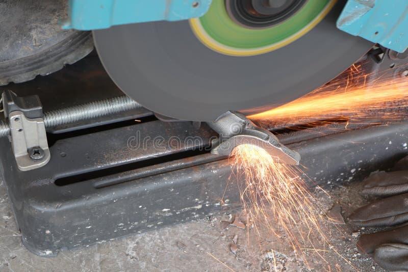casting iron cut by fiber cutting equipment stock photos