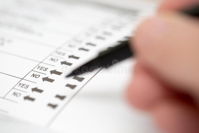 Casting a Vote on an Election Ballot stock image