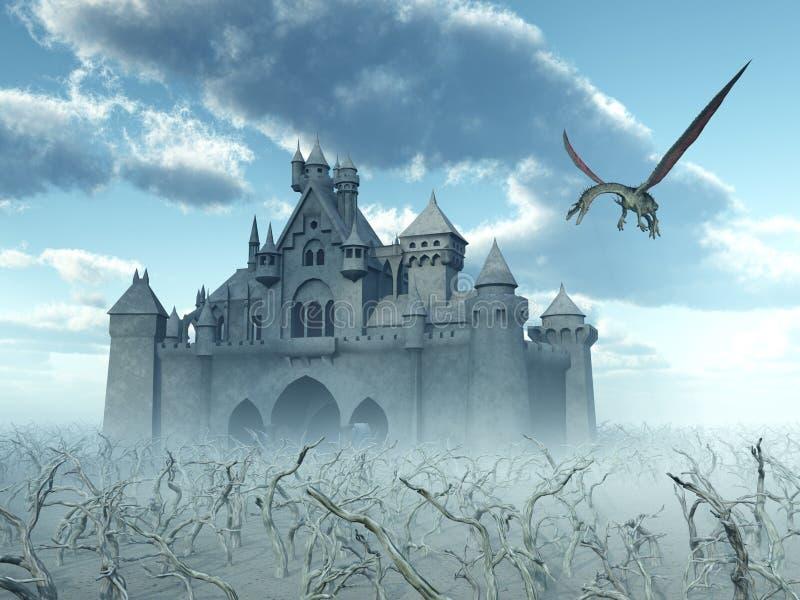 Castle και πετώντας δράκος ελεύθερη απεικόνιση δικαιώματος