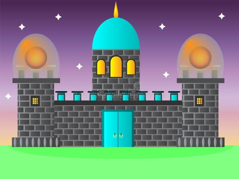 Castle με δύο μαγικούς πύργους διανυσματική απεικόνιση