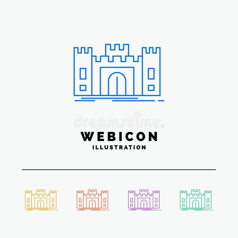 Castle, υπεράσπιση, οχυρό, φρούριο, ορόσημο 5 πρότυπο εικονιδίων Ιστού γραμμών χρώματος που απομονώνεται στο λευκό r διανυσματική απεικόνιση