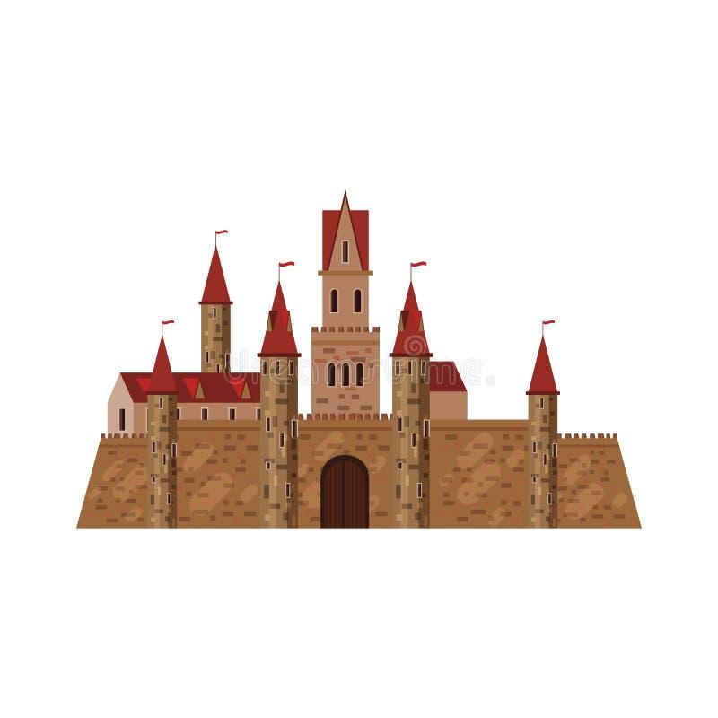 Castle, φρούριο, αρχαίοι, Μεσαίωνες Ευρώπη, μεσαιωνικό παλάτι αρχιτεκτονικής με τους υψηλούς πύργους και τις κωνικές στέγες, διάν ελεύθερη απεικόνιση δικαιώματος