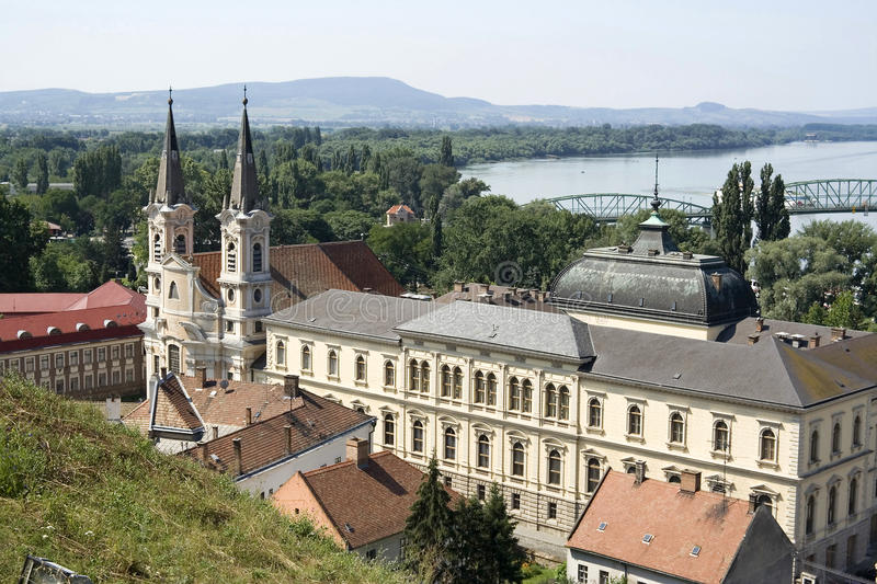 Castle. In the town of Esztergom, near the Danube River stock photography