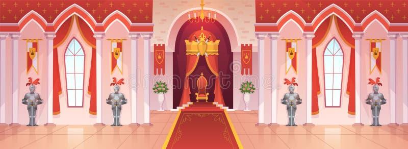 Αίθουσα χορού του Castle Εσωτερικά μεσαιωνικά βασιλικά παλατιών θρόνων βασιλικά τελετής δωματίων αιθουσών κινούμενα σχέδια παιχνι διανυσματική απεικόνιση