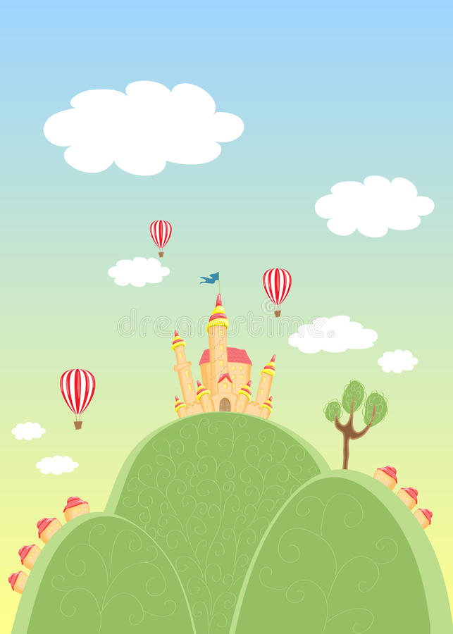 Castle. The magic country on hills. The castle royalty free illustration