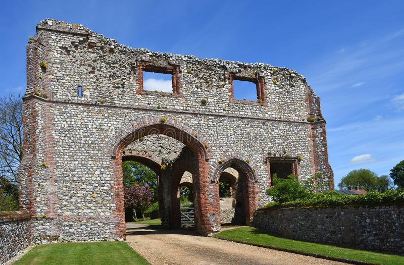 The Gatehouse at Castle Acre Priory Norfolk. CASTLE ACRE, NORFOLK, ENGLAND - MAY 09, 2018: The Gatehouse at Castle Acre Priory Norfolk stock photo