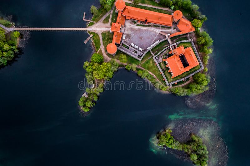 Castle, aerial top view. Lake in Trakai and its castle, aerial top view. Top visited Lithuanian places stock photography