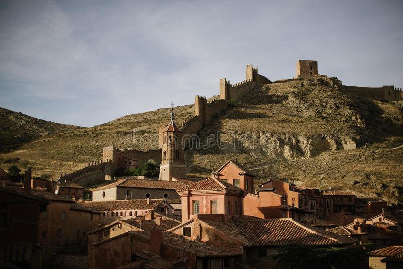 Castle of Albarracin, spain stock images