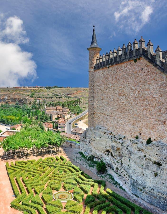 Castle Alcazar of Segovia, Spain. Panoramic view of Alcazar Castle in Segovia, Spain stock image