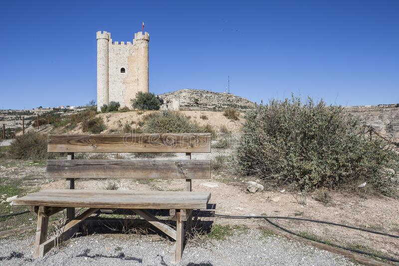 Castle of Almohad origin of the century XII, take in Alcala of t. Alcala del Jucar, Spain - October 29, 2016: Castle of Almohad origin of the century XII, take royalty free stock photo