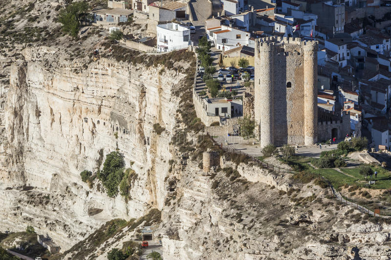 Castle of Almohad origin of the century XII, take in Alcala of t. Alcala del Jucar, Spain - October 29, 2016: Castle of Almohad origin of the century XII, take royalty free stock photography