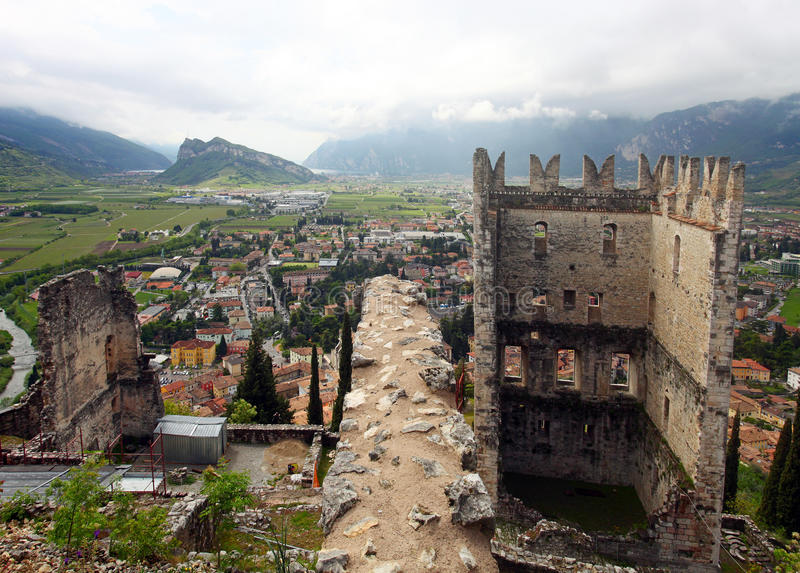 Castle of Arco and panoramic view of Arco royalty free stock image