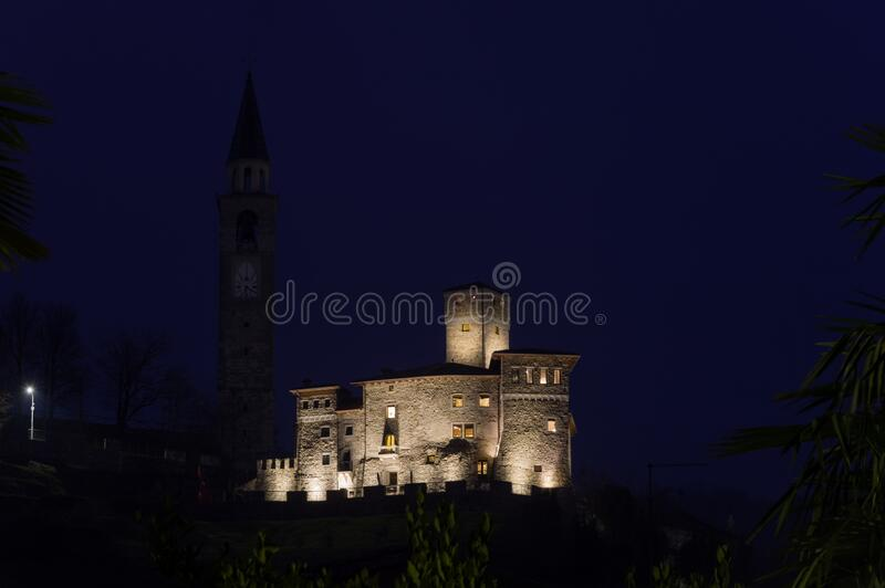 The castle of Artegna, Italy. Evening view of the Savorgnan Castle of Artegna XIV Century, in the italian region of Friuli Venezia Giulia stock images