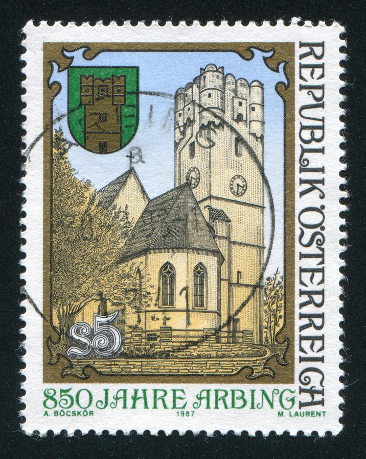 Castle. AUSTRIA - CIRCA 1987: stamp printed by Austria, shows Arbing, castle, circa 1987 stock photography