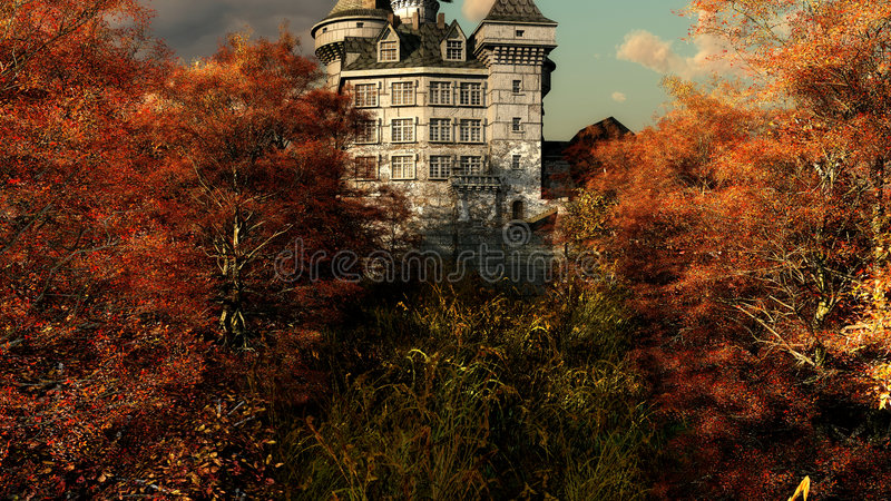 Castle in Autumn colores royalty free illustration