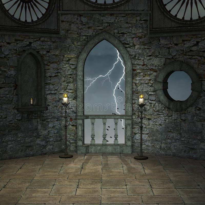 Free Castle Balcony With A View To The Storm Stock Photography - 141604682