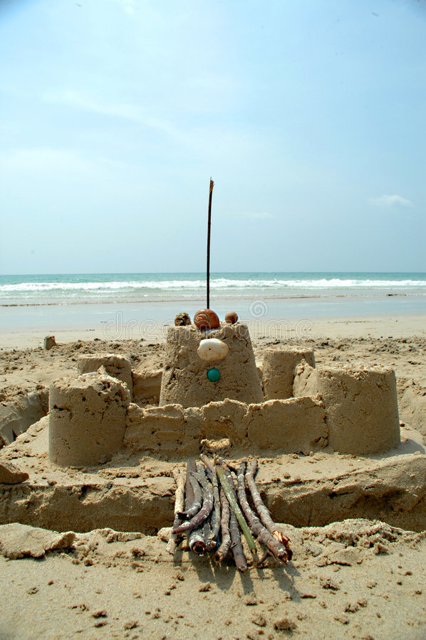 Castle on the beach stock photo