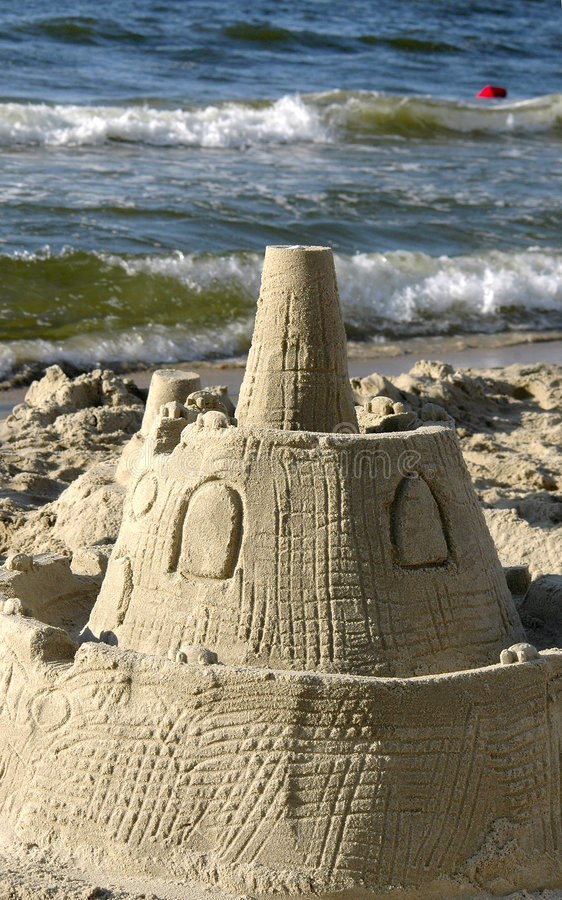 Castle on the beach royalty free stock photo