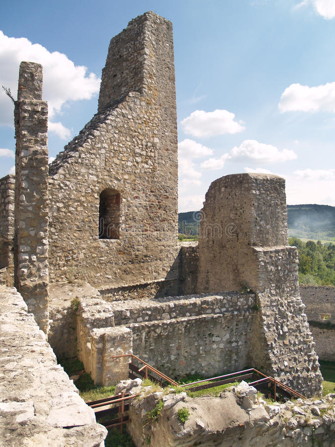 Castle of Beckov - Oldest part of fortification stock photos